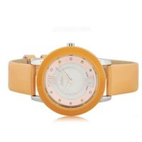 Cute Colorful Rhinestone Dial Watch Yellow