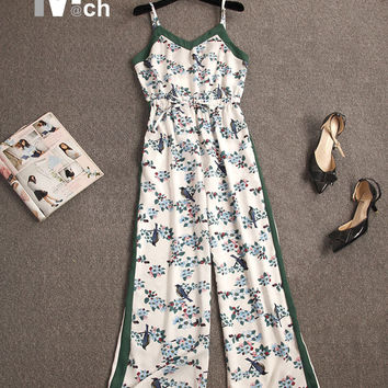 XIM MATCH 2017 Fashionk Long Jumpsuits Elastic Waist Off Shoulder Strapless Wide Leg Printed Jumpsuits JM05307DT