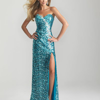 Turquoise Sequin Strapless Sweetheart Prom Dress - Unique Vintage - Prom dresses, retro dresses, retro swimsuits.