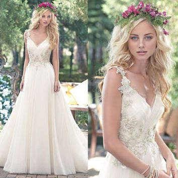Vestidos De Novia Sexy Tulle Wedding Dresses Vintage Boho Cheap Wedding Dresses 2016 Robe De Mariage Bridal Gowns Casamento