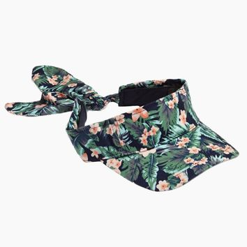 Tropical Floral Visor With Bow
