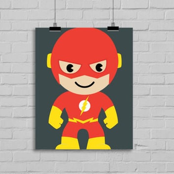 The Flash Art - Superhero Art, Instant Download , PRINTABLE 8x10, Kids Wall Art , Nursery Wall Art, Playroom Art