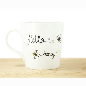 "Hand Painted White Ceramic Mug ""Hello Honey"" Honey Bee   white kitchen decor Decorative Art"