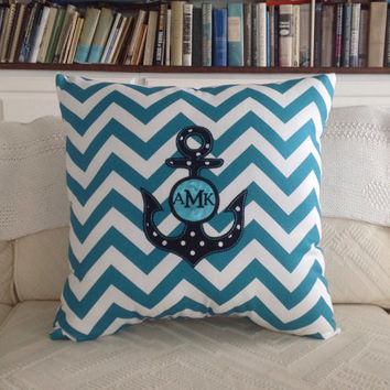 Turquoise or Coral Chevron Embroidered Anchor Pillow with Monogram - 18x18 Pillow or Pillow Cover