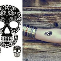 Facebook Mask Totems Human Skeleton Tattoo Stickers Temporary Tattoos(1 Pc)