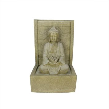 """23"""" LED Lighted Praying Buddha Water Fountain Outdoor Patio Garden Statue"""