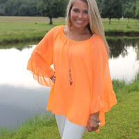 "Bangles Boutique — ""SUMMERTIME STROLLIN"" Neon Orange Bell Sleeve Top!"