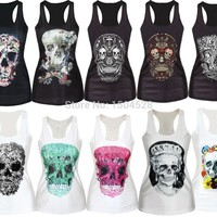 3D printed vest top for women summer ladies t-shirt skull bone series Camisole Tank top blouse
