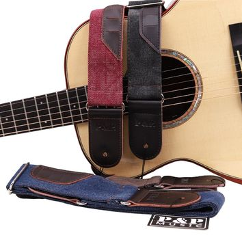 High Quality Vintage Jean Made Guitar Strap Adjustable Belt for Acoustic Electric Guitar Cow Leather Picks Holder 3 Gift Picks