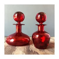 1950s Rainbow Hand Blown Glass Decanter - Red Decanter
