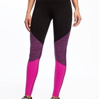 Go-Dry High-Rise Color-Block Compression Tights for Women | Old Navy