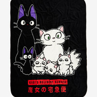 Studio Ghibli Kiki's Delivery Service Jiji & Family Throw Blanket