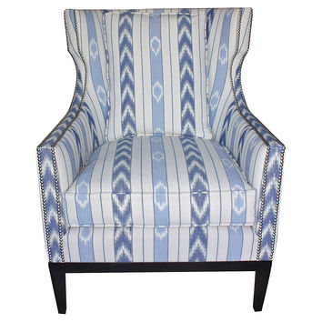 Roswell Wingback Chair, Blue/White, Club Chairs