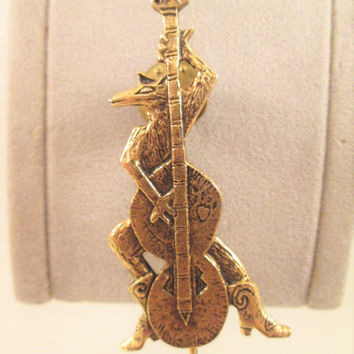 "Bronze Coyote Brooch Pin ""JAZZ"" Cowboy Coyote Robert Shields Metal Art Jewelry"
