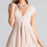 Love You Always And Forever Beige Lace Skater Dress