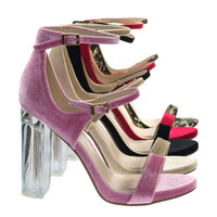 Toodee Dk Pink Velvet By Delicious, Clear Perspex Chunky Block Heel, Floral Embroidered Stitch Sandal