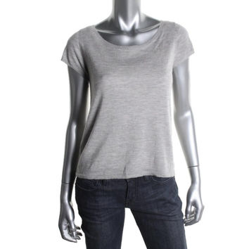 Eileen Fisher Womens Cashmere Scoop Neck Pullover Top