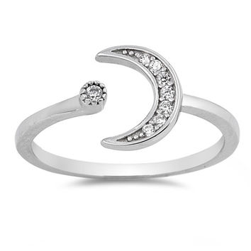 .925 CZ Star and Moon Adjustable Ring