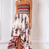 Fashion Retro Flower Print Strapless Hem Split Sleeveless Maxi Dress