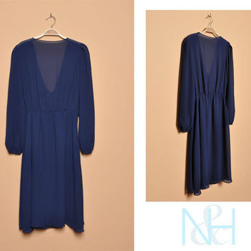 Vintage 1980s Sheer Navy Party Dress with Low Draped Back