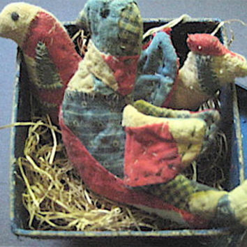 "Primitive Folk Art Birds- ""Patriotic  Birds in a Hand-Painted Box""-Set of 2-Original Design Handcrafted from Vintage, Olde Quilt"