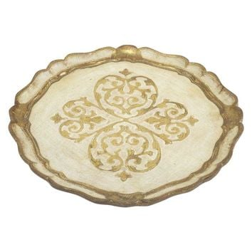 Pre-owned Gold and Cream Round Florentine Tray