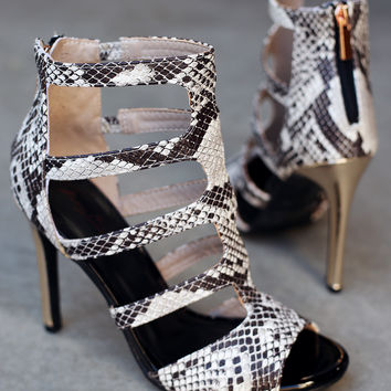 Anne Michelle Python Caged Cutout Peep Toe Metallic Stiletto Heel | UrbanOG