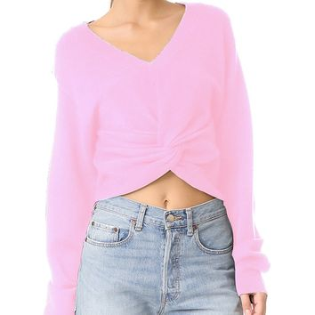 Pink V-neck Twist Front Long Sleeve Cropped Sweater