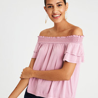 AE SOFT & SEXY OFF-THE-SHOULDER T-SHIRT, Mauve