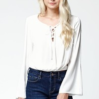 LA Hearts Lace-Up Long Sleeve Cropped Top - Womens Shirts