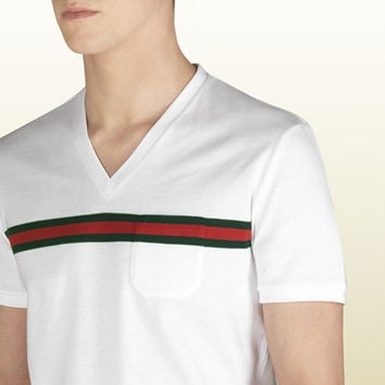 Gucci - t-shirt with web stripe print. 243790X34689001