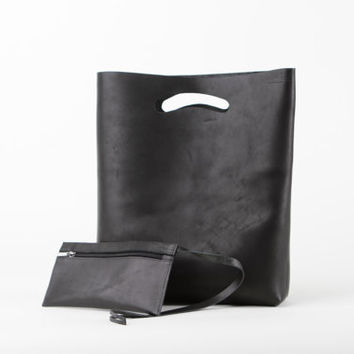 black leather shoping bag, exclusive handmade leather bag