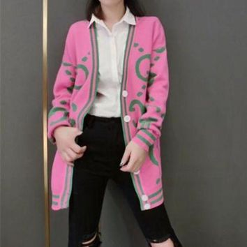 ONETOW Gucci' Women Fashion Letter Multicolor Stripe Long Sleeve Deep V-Neck Knit Cardigan Sweater Coat