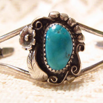 Sterling Silver with Blue Turquoise Cuff Bracelet G. Slim Canyon Silver Company