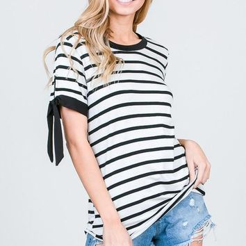 Black and Ivory Striped Top with Tie Sleeves
