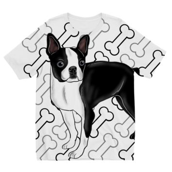 Boston Terrier with Bones Designs by Amitie Kids Sublimation TShirt