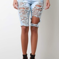 Destroyed Bermuda Denim Shorts