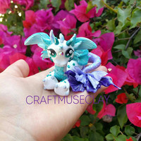 Fantasy Sea Dragon Polymer clay figure/Watercolor