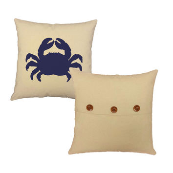 Set of 2 Nautical Pillows - Blue Crab and Seahorse - Pillow covers and or Cushions, 14x14 or 16x16, Natural Cotton Canvas