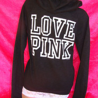 NWT VICTORIAS SECRET HOODIE BOYFRIEND SWEATSHIRT HOODED JACKET OVERSIZED XS PINK