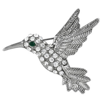 Hummingbird Jeweled Silver Bar Pin