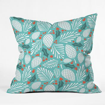 Heather Dutton Winter Woodlands Sky Throw Pillow