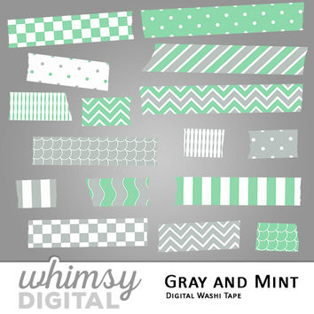 Gray and Mint Digital Washi Tape Clip Art with Stripes, Waves, Chevron, Polka Dots, Scallops, and Checkers in Mint Green, Gray, and White