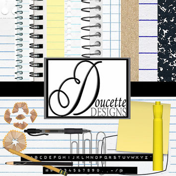 Instant Download-Back to School Digital Scrapbooking Paper Embellishment Clipart Pack Personal and Commercial Use