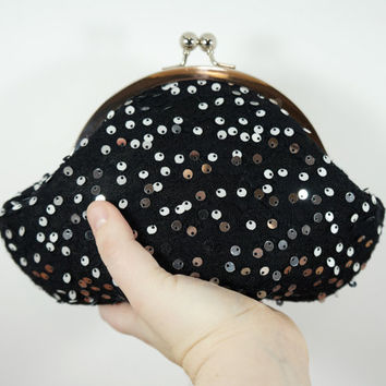 Black clutch purse with silver sequins, sequin clutch, black evening bag, personalized purse, black wristlet