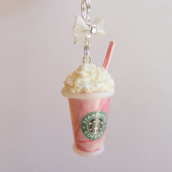 Scented or Unscented Starbucks inspired Strawberry Frappuccino Miniature Food Necklace Pendant - Miniature Food Jewelry
