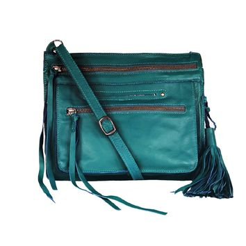 Media Lightweight Leather Crossbody Bag - Emerald Turquoise