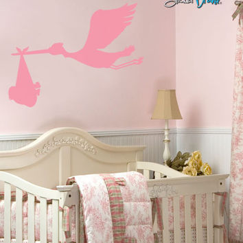 Stork Bird with Baby on Board Vinyl Wall Decal Sticker. #212