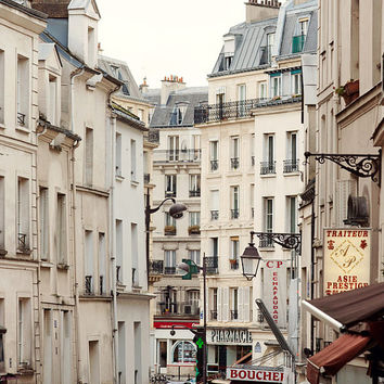 Rue Mouffetard, Paris Photography, Shops and Windows, Paris Print, White Wall Art, Large Art Print, 8x10, 16x20, 20x24 Art Print
