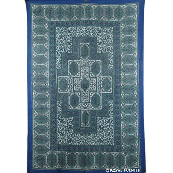 Twin Size Blue Indian Handloom Tapestry Wall Hanging Decor Art